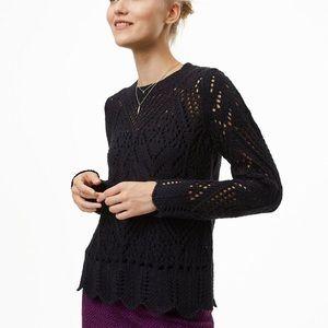 Loft Black Pointelle Scalloped Sweater